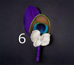 Purple wedding purple boutonniere feather boutineers wedding lapel pin lapel flower eggplant wedding pin wedding flowers purple feather