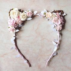 Please note the delivery time is 2-3 weeks from Russia! This is a beautiful cat ears headband featuring artificial flowers of blush pink, white and ivory. It will be perfect for outdoor events and summer photo shoots. The size is free begging from 6 years ol. *ship in 1-2 business days International shipment is via air mail and takes about 2-3 weeks for delivery. I love custom orders! Please write to me with your request.