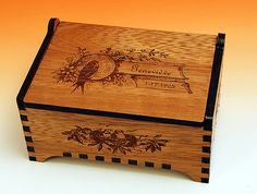 "Laser Cut And Engraved Wooden Jewelry Box - ""genevieve"" Design"