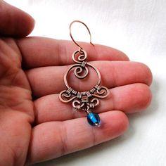 Ornamental Earrings Wire Wrapped Jewelry Aqua by KariLuJewelry, $27.00