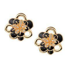 CIRO Jewelry Traviata gold flower omega clip on earrings. Floral design. White CIROLIT stones. Black enamel. Omega clip back. Gold plated.