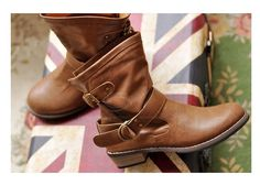 Casual Chunky Heel Women's Short Boots Pure Color and Buckle Design (BROWN,39) China Wholesale - Sammydress.com  I want these so badly!