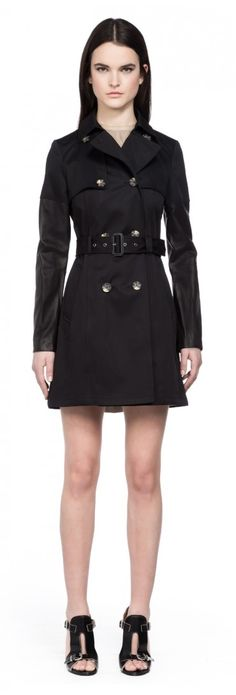 Mackage - INESSA BLACK TRENCH COAT WITH LEATHER SLEEVES