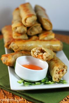 Chicken Egg Rolls: Good with Sweet & Sour Sauce. Changes: Cooked chicken and then chopped finely instead of using ground. Used regular mushrooms and cole slaw mix. I might try soy or teriyaki sauce instead of the Hoisin next time.