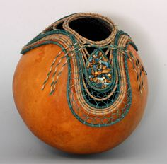 Teal rock chips on Coiled Gourd Art Item 657 by Susan Ashley by TxWeaver on Etsy