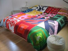 bedspread made from Vera scarves.
