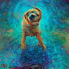 The original wet dog painting by Iris Scott. Read the story behind the piece on our blog.