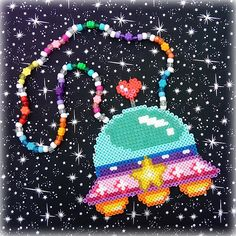 Spaceship Alien UFO Beaded Kandi Perler Art Necklace Rave PLUR