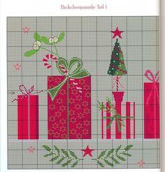 ru / Photo # 52 - 14 - Viki-Kitti - Presents panel Cross Stitch Books, Cross Stitch Love, Cross Stitch Charts, Cross Stitch Patterns, Christmas Tree Pattern, Christmas Cross, Cross Stitching, Cross Stitch Embroidery, Family Ornament