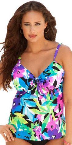 37950fb8ca68a Shore Club Costa Rica Plus Size Tie Front Tankini Top Women s Swimwear -  Purple - Size