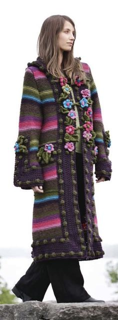Knit and crochet coat, brown and bright colors. Design by Bente Presterud Røvik, for Rauma Ullvarefabrikk