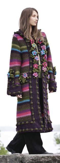 Knit and crochet coat, brown and bright colors. Design by Bente Presterud Røvik, for Rauma Ullvarefabrikk