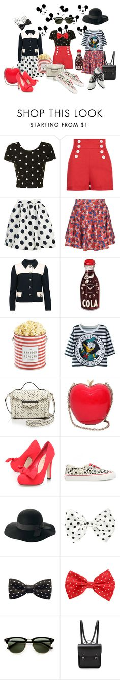 """""""Mickey and Minnie"""" by allygaitore ❤ liked on Polyvore featuring Glamorous, ElevenParis, Moschino Cheap & Chic, Newgate, The Hampton Popcorn Company, Kate Spade, RED Valentino, Miss KG, Vans and ZuZu Kim"""