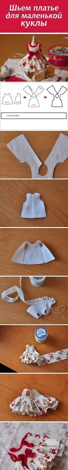 Шьем платье для маленькой куклы / Doll Outfit Tutorial NOTE: use pattern to make dresses for pin/clothespin dolls Doll Clothes Patterns, Doll Patterns, Sewing Patterns, Baby Patterns, Doll Crafts, Sewing Crafts, Sewing Projects, Sewing Diy, Dress Sewing