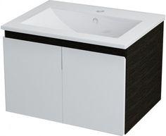 SAPHO - RIANA umyvadlová skříňka 59x40x45cm, bílá mat/tmavý dub (65060)