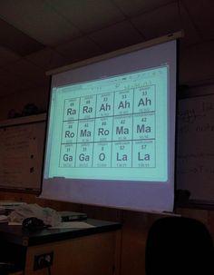 Chemistry teacher has a good sense of humor
