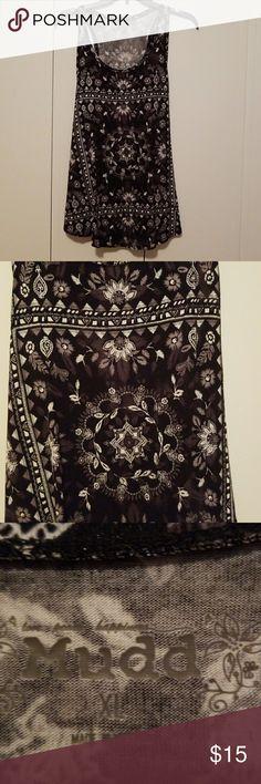 Fun Modern Sleeveless Top Worn once! Love the boho style pattern and mandala design. Super soft material. Mudd Tops Tank Tops