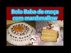Espaço das delícias culinárias: Bolo pão de ló recheado com baba de moça, e marshmallow