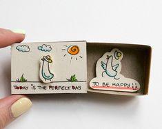 """Ermutigung-Karte / inspirierende Karte / Ente Matchbox / Geschenkbox / Message box """"Heute ist der perfekte Tag um glücklich zu sein"""" / OT007"""
