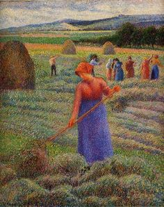 Haymakers at Eragny, 1889 ~ Camille Pissarro (Danish-French, 1830-1903) Impressionist, Pointillist Painter