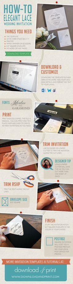 DIY elegant lace wedding invitation template