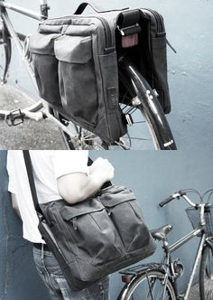 Convertible bicycle panniers and shoulder bag from Property Of.