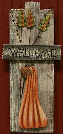 "Primitive+Wood+Crafts | 21"" tall Primitive ""Welcome"" Pumpkin Fall Plaque - Wall Decor and ..."