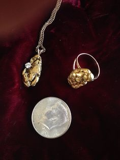 Raw gold nugget jewelry diamond pendant Alaska ring oil boom