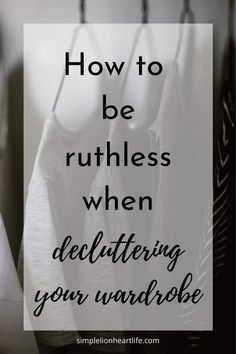 12 tips and tricks to help you be ruthless when decluttering your wardrobe. Use these 12 tips to dramatically simplify your wardrobe and declutter clothes. Small Closet Organization, Organization Hacks, Organizing Ideas, Organising Tips, Clothing Organization, Decluttering Ideas, Bedroom Organization, Simple Wardrobe, Minimal Wardrobe
