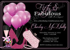This listing is for 5 X 7 custom design ~ 50th Birthday Invitation - Adult Black and Pink Glitter Glam 50th Birthday Party Invite You will receive