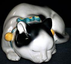 ANTIQUE GERMAN DRESDEN ERPHILA KUTANI SLEEPING CAT KITTEN PORCELAIN FIGURINE | eBay