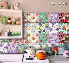 Floral Tile/Wall/ Stair Riser Decal Kitchen Bathroom Backsplash Tile Stickers Removable Peel & Stick Home Decor : Pack of 44 by Bleucoin Bathroom Decals, Tile Decals, Bathroom Flooring, Kitchen Flooring, Kitchen Backsplash, Wall Tiles, Wall Decal, Garde Corps Design, Jig Saw