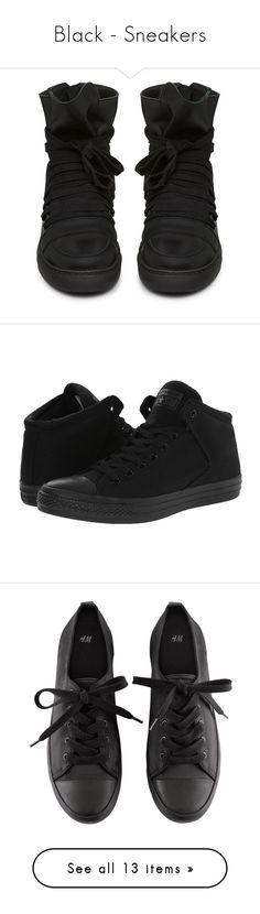 """Black - Sneakers"" by zakhx ❤ liked on Polyvore featuring black, sneakers, shoes, shoes - sneakers, trainers, black hi tops, krisvanassche, black sneakers, high top trainers and black high tops"