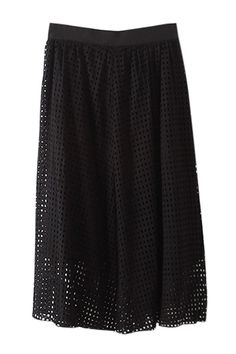 Openwork Solid Color Long Skirt BLACK: Skirts | ZAFUL