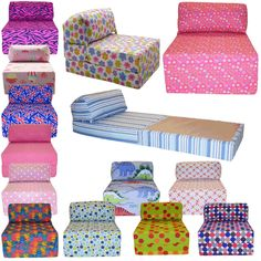 Gentil Cotton Print Single Chair Bed Z Guest Fold Out Futon Sofa Chairbed Matress  Gilda
