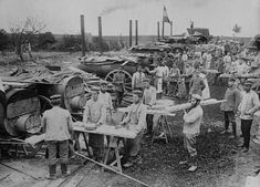 A German field bakery set up near Ypres, Belgium, makes bread for the troops.