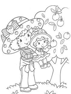 coloriage charlotte ramasse des pommes