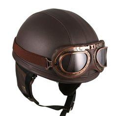Leather Brown Motorcycle Goggles Vintage Garman Style Half Helmets Motorcycle Biker Cruiser Scooter Touring Helmet     #BIKER, #Brown, #Cruiser, #Garman, #Goggles, #Half, #Helmet, #Helmets, #Leather, #Motorcycle, #Scooter, #Style, #Touring, #Vintage