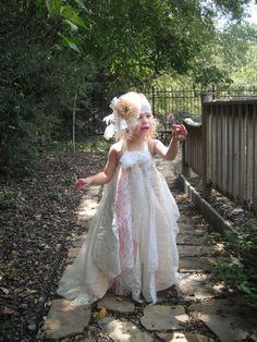 vintage baby lace chiffon wedding dress flower girl shabby chic toddler formal photo prop hair piece headband peach cream white