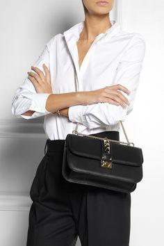 Valentino | Glam Lock studded leather shoulder bag | NET-A-PORTER.COM