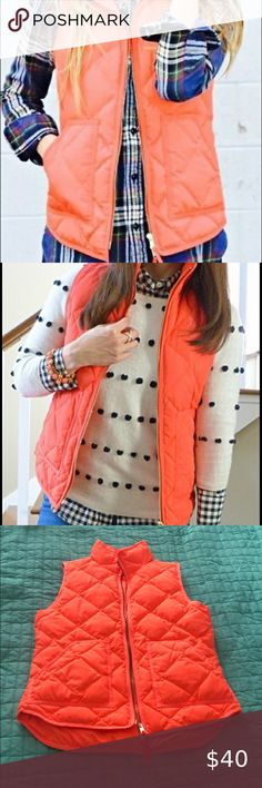 J Crew Factory Excursion Vest Size XS Neon Orange Excellent condition  Size xs J. Crew Factory Jackets & Coats Vests