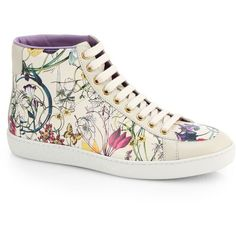 Gucci Brooklyn Floral-Print Leather High-Top Sneakers