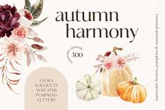 AUTUMN HARMONY Watercolor Collection by Soft Muse Art on @creativemarket