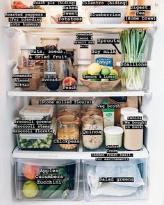 Clean eating fridge contents is part of Healthy fridge - Healthy Fridge, Fridge Organization, Organized Fridge, Fridge Storage, Clean Fridge, How To Organize Fridge, Storage Ideas, Food Storage Organization, Organizing Ideas