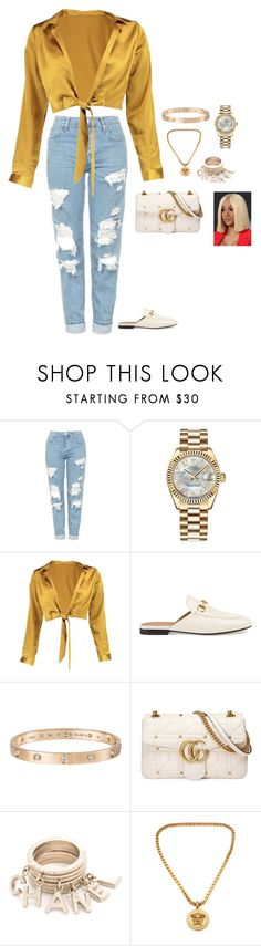 """."" by conceitedlo ❤ liked on Polyvore featuring Topshop, Rolex, Boohoo, Gucci, Cartier and Versace"