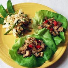 chicken lettuce wraps -- start with rotisserie chicken. add diced red pepper, water chestnuts, bamboo shoots, green onion, soy sauce, fresh ginger, and garlic. (chop all, heat in 1T sesame oil in skillet, 5 min) wrap warmed filled in butter or bib lettuce. roll and eat.