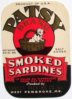 PATSY West Pembroke Maine Sardine Label Vintage Food Labels, Vintage Packaging, Vintage Tins, Vintage Ephemera, Vintage Recipes, Product Ads, Product Labels, Retro Ads, Vintage Advertisements