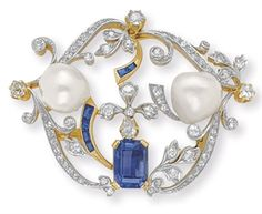 AN ANTIQUE DIAMOND, SAPPHIRE AND PEARL BROOCH -  An openwork old European and single-cut diamond scrolling plaque, set with a cut-cornered rectangular-cut sapphire and two baroque pearls, with calibré-cut sapphire detail, platinum and gold, circa 1890 .