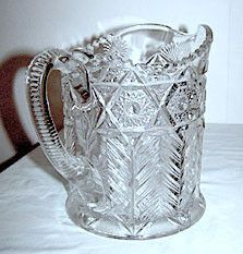 EAPG - Cambridge - Inverted Feather - Near Cut Pitcher 7 Cambridge circa 1910 - 1920 Feather Pattern, Glass Pitchers, Pressed Glass, Early American, Pattern Making, Cambridge, Patterns, Crystals, Antiques