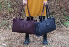 Handmade vintage modern leather big tote bag shoulder bag handbag for | EverHandmade